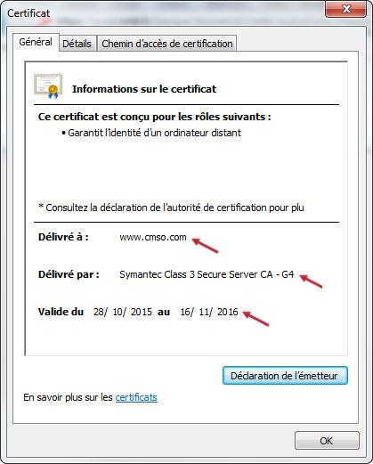 Propriété du certificat de sécurité