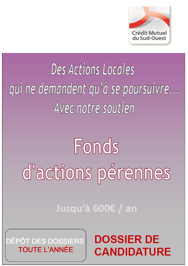 Dossier de candidature au fonds d'actions pérennes
